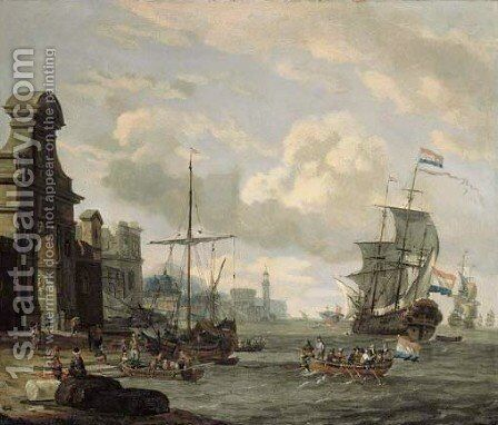 Capricci of Mediterranean harbours with ships by (after) Abraham Jansz. Storck - Reproduction Oil Painting