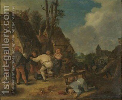 Peasants Carousing Outside An Inn by (after) Adriaen Brouwer - Reproduction Oil Painting