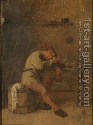 Peasant Lighting His Pipe by (after) Adriaen Brouwer - Reproduction Oil Painting