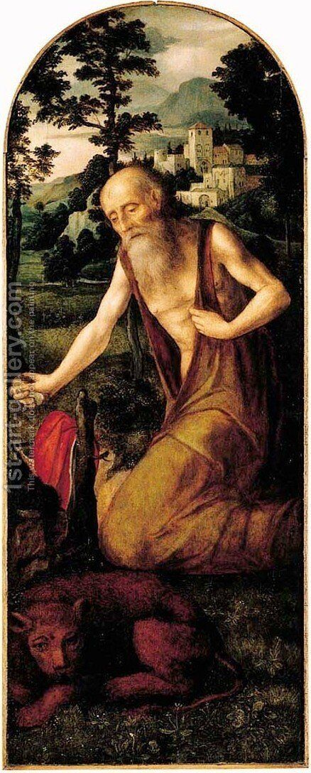 Saint Jerome in the wilderness two wings from an altarpiece by (after) Adriaen Isenbrandt (Ysenbrandt) - Reproduction Oil Painting