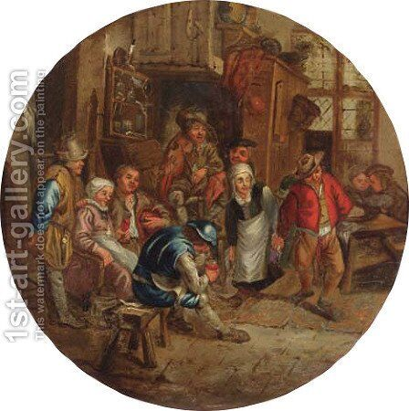 Peasants merry making in an inn by (after) Adriaen Jansz. Van Ostade - Reproduction Oil Painting