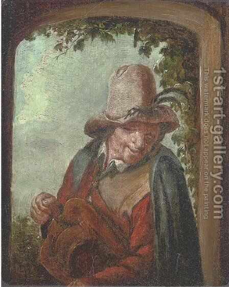 A hurdy gurdy player by (after) Adriaen Jansz. Van Ostade - Reproduction Oil Painting