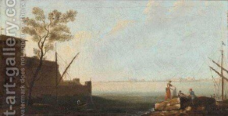 A Mediterranean coastal inlet with fishermen by the shore by (after) Adriaen Manglard - Reproduction Oil Painting