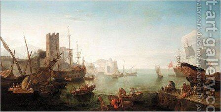 A Mediterranean Port Scene With Figures Unloading A Boat On A Quay, Ships At Anchor Beyond by (after) Adriaen Manglard - Reproduction Oil Painting