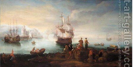 A Mediterranean Harbour Scene With Merchants Resting By Their Wares, A Ship Firing A Salute Beyond by (after) Adriaen Manglard - Reproduction Oil Painting