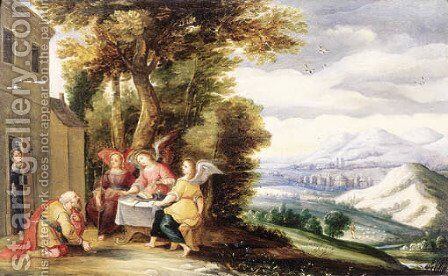 Abraham and the angels by (after) Adriaen Van Stalbemt - Reproduction Oil Painting
