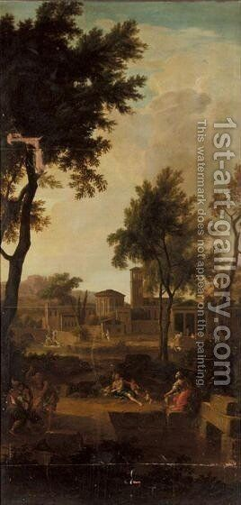 A Classical Landscape With An Imaginary Townscape And Figures In The Foreground by (after) Aelbert Meyeringh - Reproduction Oil Painting