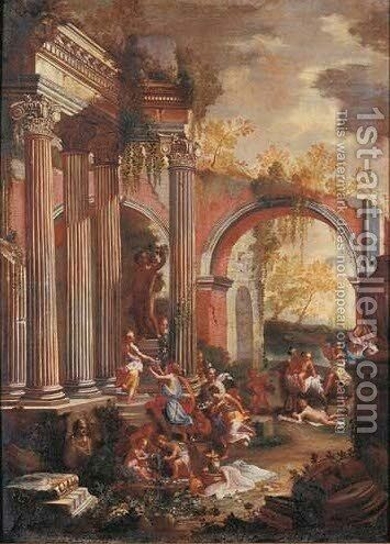 Bacchanals among classical ruins by (after) Alberto Carlieri - Reproduction Oil Painting