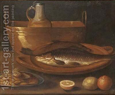 Fish on an earthenware platter, a pitcher in a copper urn, a dish of nuts, with oranges and a lemon on a ledge by (after) Alejandro De Loarte - Reproduction Oil Painting