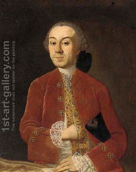 Portrait of a gentleman, half-length, in a red coat holding a letter by (after) Alessandro Longhi - Reproduction Oil Painting