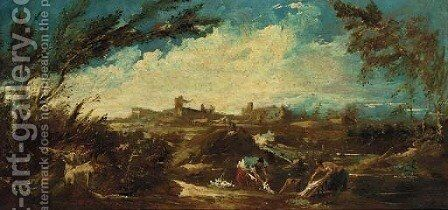 An extensive landscape with washerwomen by a river by (after) Alessandro Magnasco - Reproduction Oil Painting