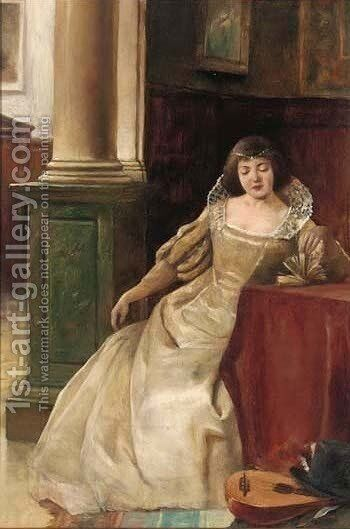 A lady reading by (after) Alex De Andreis - Reproduction Oil Painting