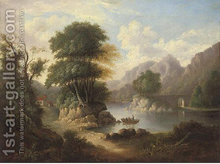 An extensive wooded river landscape with figures in a boat by a bridge by (after) Alexander Nasmyth - Reproduction Oil Painting