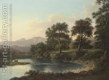 A wooded river landscape with anglers on the bank, mountains beyond by (after) Alexander Nasmyth - Reproduction Oil Painting