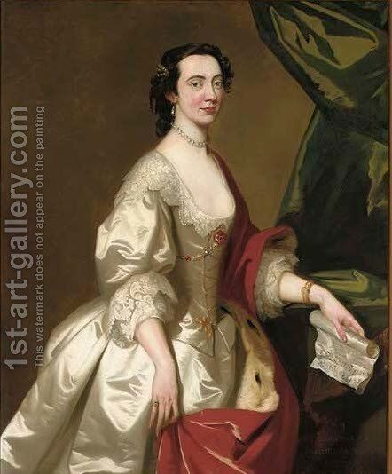 Portrait of Anne Gordon by (after) Allan Ramsay - Reproduction Oil Painting