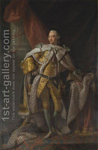 Portrait Of King George III In Coronation Robes by (after) Allan Ramsay - Reproduction Oil Painting