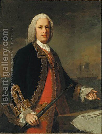 Portrait of a Naval Officer by (after) Allan Ramsay - Reproduction Oil Painting
