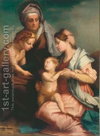 The Madonna and Child with Saint Elisabeth and the Infant Saint John the Baptist by (after) Andrea Del Sarto - Reproduction Oil Painting