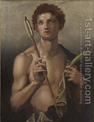Saint Sebastian with an arrow in his right hand and the martyr's palm in his left by (after) Andrea Del Sarto - Reproduction Oil Painting