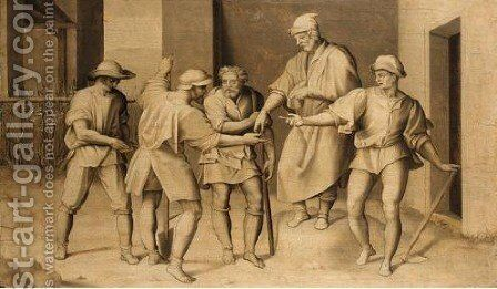 The Payment Of The Workers by (after) Andrea Del Sarto - Reproduction Oil Painting