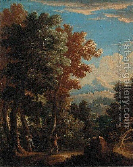 A wooded landscape with peasants on a track by (after) Andrea Locatelli - Reproduction Oil Painting