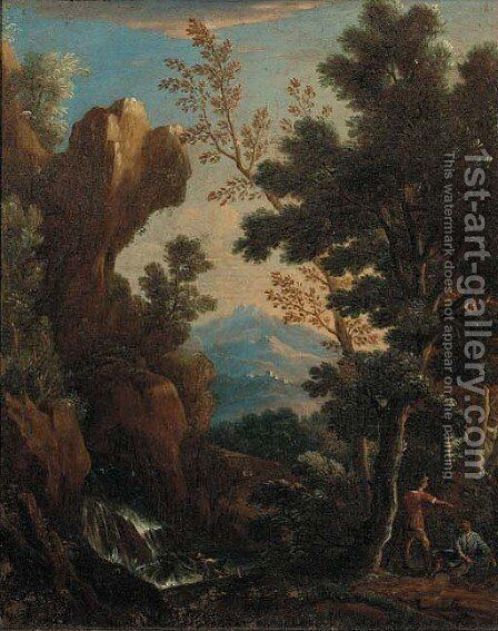 A wooded landscape with peasants resting by a waterfall by (after) Andrea Locatelli - Reproduction Oil Painting