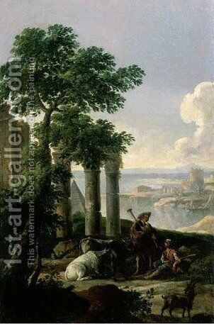 Landscape With Shepherd And Other Figures Near Ruins by (after) Andrea Locatelli - Reproduction Oil Painting