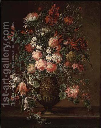 Parrot tulips, roses, carnations, morning glory and other flowers by (after) Andrea Sacchiati - Reproduction Oil Painting