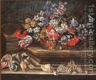 Basket of flowers with shells on stone ledge 2 by (after) Andrea Scacciati - Reproduction Oil Painting