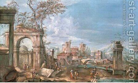 An architectural capriccio with peasants among ruins by (after) Andrea Urbani - Reproduction Oil Painting