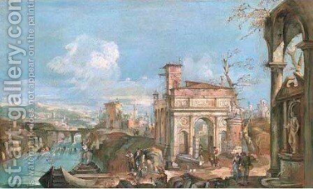 An architectural capriccio with peasants by a river by (after) Andrea Urbani - Reproduction Oil Painting