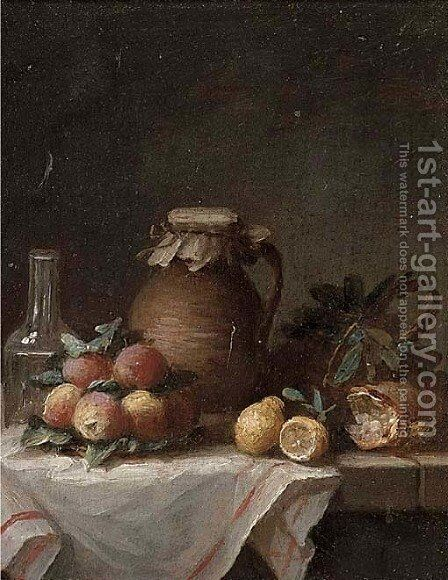 An earthenware jug, apples, lemons, bread and a glass bottle on a draped ledge by (after) Anne Vallayer-Coster - Reproduction Oil Painting