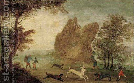 A wooded landscape with a rocky outcrop, a stag hunt in the foreground by (after) Anton Mirou - Reproduction Oil Painting