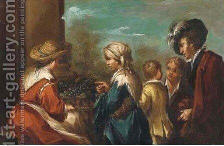 A peasant buying grapes by (after) Antonio Amorosi - Reproduction Oil Painting