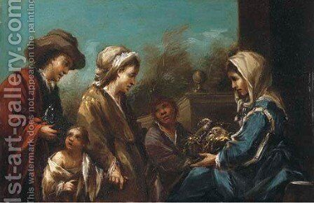 A peasant selling pigeons by (after) Antonio Amorosi - Reproduction Oil Painting