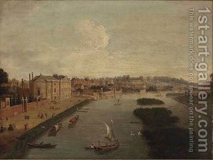 A view of the Thames at Richmond and Cholmondeley House, with elegant figures on Cholmondeley House Walk by (after) Antonio Joli - Reproduction Oil Painting