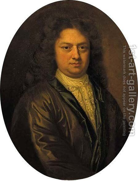 Portrait of a gentleman, half length, wearing a green-lined brown jacket with lace chemise and wig by (after) Arnold Boonen - Reproduction Oil Painting