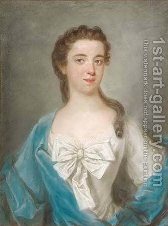 Portrait of a young lady, half-length, in a blue wrap by (after) Arthur Pond - Reproduction Oil Painting