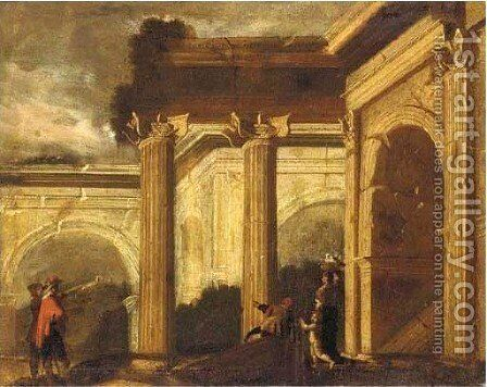 A capriccio of Roman ruins with an elegant figure and other figures by (after) Ascanio Luciano - Reproduction Oil Painting