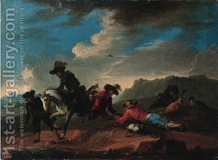 Falconers on mountain passes in landscape by (after) August Querfurt - Reproduction Oil Painting