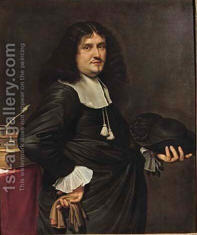 Portrait of a gentleman, three-quarter-length, in a black costume with a white chemise and collar by (after) Bartholomeus Van Der Helst - Reproduction Oil Painting