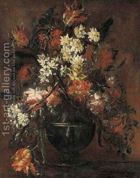 Roses, daffodils, tulips and carnations in a vase on a table 2 by (after) Bartolome Perez - Reproduction Oil Painting