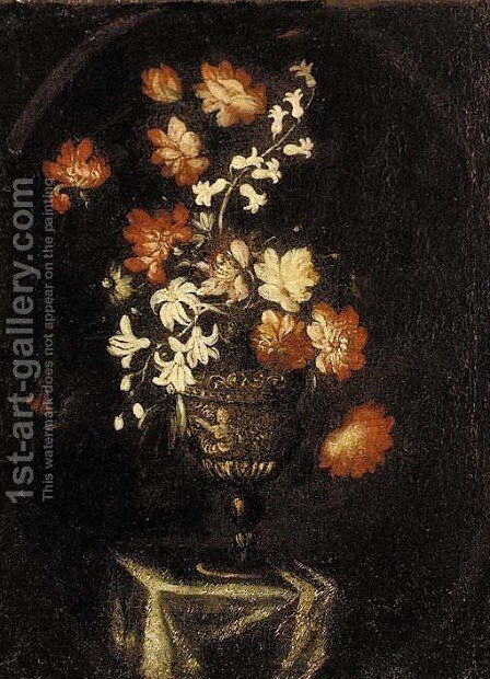 Roses, irises, and other flowers on a sculpted urn by (after) Bartolome Perez - Reproduction Oil Painting