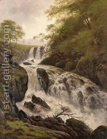Falls on the Conway by (after) Benjamin Williams Leader - Reproduction Oil Painting