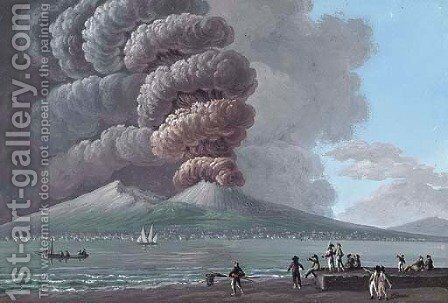 The eruption of Vesuvius, June 1794, by day by (after) Camillo De Vito - Reproduction Oil Painting