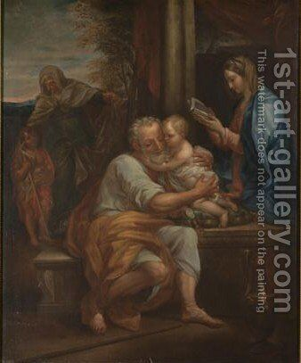 The Holy Family With Saints Elizabeth And John The Baptist by (after) Carlo Maratta Or Maratti - Reproduction Oil Painting