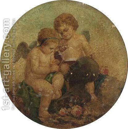 Putti seated by a marble bust by (after) Charles Augustus Henry Lutyens - Reproduction Oil Painting