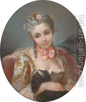 A maidemoiselle with her favourite spaniel by (after) Charles Chaplin - Reproduction Oil Painting