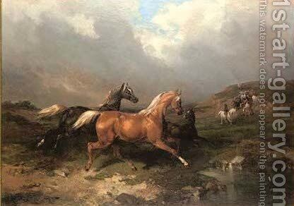 Gathering in the horses by (after) Charles Philogene Tschaggeny - Reproduction Oil Painting