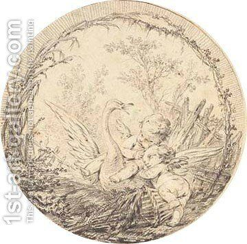 Two putti riding on a swan in a landscape by (after) Charles-Dominique-Joseph Eisen - Reproduction Oil Painting